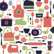 Kitchen seamless pattern — ストックベクタ