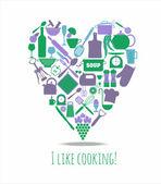 Küche liebeskarte — Stockvektor