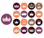 Crowns vintage set. — Stock Vector