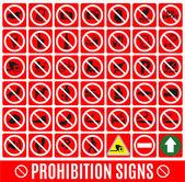 Prohibition set symbol — Stock Vector