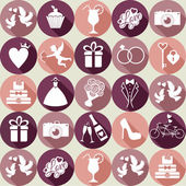 Wedding seamless pattern witch icons. — Stock Vector