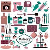 Icônes de boulangerie — Vecteur
