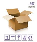 Lepenkové krabice ikona — Stock vektor