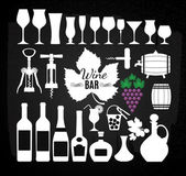 Wine set on chalk board. — Stock Vector