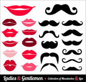 Collection of moustaches and lips — Stock Vector