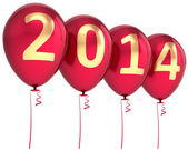 New 2014 Year balloons party decoration. Wintertime celebration banner balloon — Stock Photo
