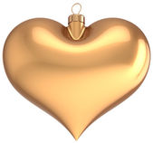 Christmas ball gold heart shaped decoration I love New Year bauble golden — Stock Photo