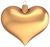 クリスマス ボール ゴールド ハート大好き装飾ゴールデン新年安物の宝石 — ストック写真