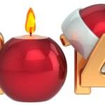 Happy New Year 2014 Santa hat Christmas candle decoration set — Stock Photo #34836065