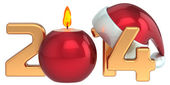 Happy New Year 2014 Santa hat Christmas candle decoration set — Photo