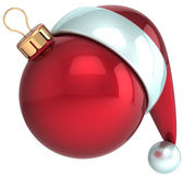 Christmas ball Happy New Year bauble decoration red Santa hat icon — Stock Photo