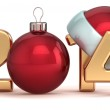 Happy New Year 2014 Santa hat Christmas ball decoration — Stock Photo #34891109