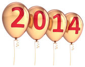 Happy New Year 2014 balloons party decoration gold. Celebration helium balloon golden — Stock Photo