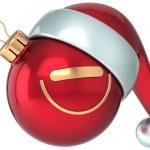 Vánoční koule smajlík obličej červený šťastný nový rok santa klobouk dekorace legrační — Stock fotografie #35230665