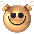 Smiley face New Year bauble Christmas ball happy smile icon decoration gold. Wintertime holidays emoticon — Stock Photo