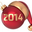 Christmas ball 2014 New Year bauble red gold decoration Santa hat icon banner traditional — Stock Photo #35706957