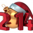 Happy New Year 2014 Santa hat Merry Christmas Xmas ball decoration wintertime holidays stylized souvenir — Stock Photo #35711629