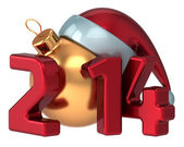 Happy New Year 2014 Santa hat Merry Christmas Xmas ball decoration wintertime holidays stylized souvenir — Stock Photo
