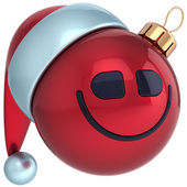 Christmas ball smile face Happy New Year bauble Santa hat smiley icon decoration. Wintertime emoticon — Stock Photo