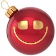 Smiling Christmas ball smiley New Year bauble smile face decoration icon. Wintertime celebration emoticon — Stock Photo
