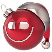 Christmas ball leende nyår småsak glad smiley santa hatt leende ansikte ikon dekoration. vintern uttryckssymbol — Stockfoto