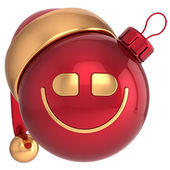 Smiling Christmas ball Happy New Year smile bauble Santa hat smiley face icon decoration red gold — Stock Photo
