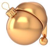 Christmas ball Happy New Year bauble gold decoration Santa hat icon blank — Stock Photo