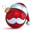 Christmas ball ornament Santa Claus hat New Year bauble red decoration happy emoticon avatar icon — Stock Photo #37006433