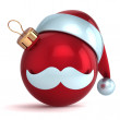 Christmas ball ornament Santa Claus hat New Year bauble red decoration happy emoticon avatar icon — Stock Photo