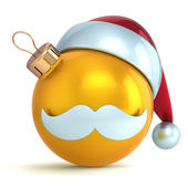 Christmas ball ornament Santa Claus hat New Year bauble gold yellow decoration happy emoticon avatar icon — Stock Photo
