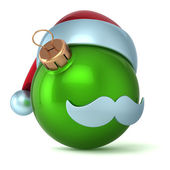 Christmas ball Santa Claus hat New Years Eve bauble ornament green decoration happy emoticon avatar icon — Stock Photo
