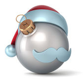 Christmas ball Santa Claus hat New Years Eve bauble ornament silver decoration happy emoticon avatar icon — Stock Photo