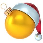 Christmas ball Happy New Year bauble decoration yellow gold ornament Santa hat icon emoticon avatar — Stock Photo