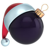 Christmas ball Happy New Year bauble decoration black ornament Santa hat icon emoticon avatar — Stock Photo