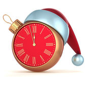 Happy New Year Christmas ball alarm clock bauble ornament decoration Santa hat icon red gold — Stock Photo