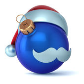 Christmas ball Santa Claus hat New Years Eve bauble ornament blue decoration happy emoticon avatar icon — Stock Photo