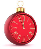 Happy New Year alarm clock countdown bauble Christmas ball ornament decoration red icon — Stock Photo