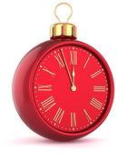 Frohes neues wecker countdown spielerei weihnachten kugel ornament dekoration rot symbol — Stockfoto