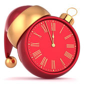 Happy New Year alarm clock bauble Christmas ball ornament decoration Santa hat icon red gold — Stock fotografie
