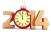 Happy New Year 2014 alarm clock Christmas ball decoration winter holidays ornament stylized souvenir — Stock fotografie