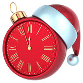 Happy New Year alarm clock countdown bauble Christmas ball ornament decoration Santa hat icon red — Stock Photo