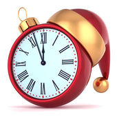 Happy New Year alarm clock countdown bauble Christmas ball ornament decoration Santa hat icon — Stock Photo