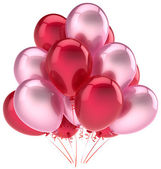 Balloons party happy birthday decoration pink red love helium balloon — Stock Photo