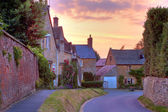 Cotswold cottages at sunset — Stock Photo