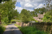 Cotswold lane with cottage — Stock Photo
