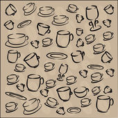 Set of cups and saucers coffee beans. vector — Stok Vektör