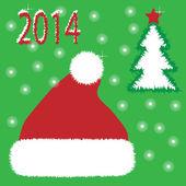 ベクトル赤いカード クリスマス帽子 — ストックベクタ