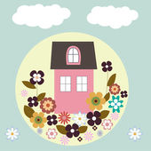 House with flowers, vector — Stock Photo