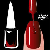 Nail polish red, on black background. vector — Stock Vector