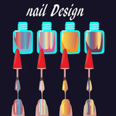 Set of multicolored nail polish brushes. vector — Stock Vector